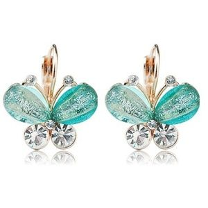 Green Crystal Butterfly Earrings